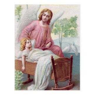 Cartão Postal Gel, de protecção, rapariga e berço,