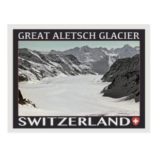 Cartão Postal Geleira de Aletsch - no preto