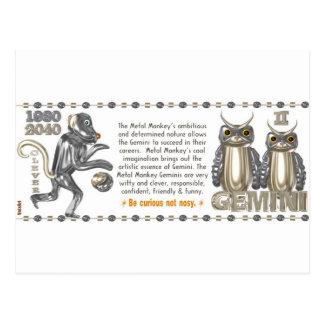 Cartão Postal Gêmeos nascidos 1980 do zodíaco do macaco do metal