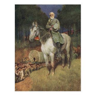 Cartão Postal General Lee em seu carregador famoso, 'Traveller