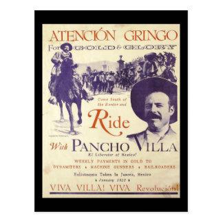 Cartão Postal General mexicano do herói de Pancho Villa