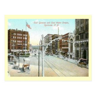 Cartão Postal Genesee & rua da água, vintage de Siracusa, New