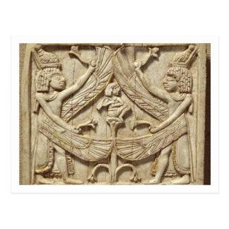 Cartão Postal Gênios voados, período Assyrian, c.750 BC (marfim)