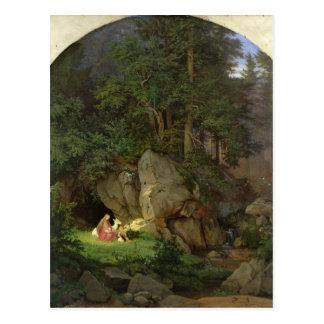 Cartão Postal Genoveva no esclarecimento de madeira, 1839-41