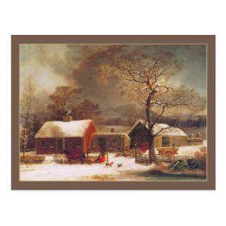 Cartão Postal George Henry Durrie: Cena do inverno em New Haven