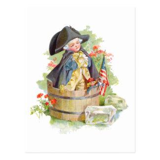 Cartão Postal George Washington pequeno que cruza o Delaware