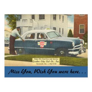 Cartão Postal Geórgia, táxi da cidade, savana