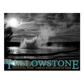 Cartão Postal Geyser da fonte do parque nacional de Yellowstone