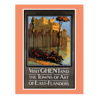 Cartão Postal Ghent, Bélgica, poster das viagens vintage