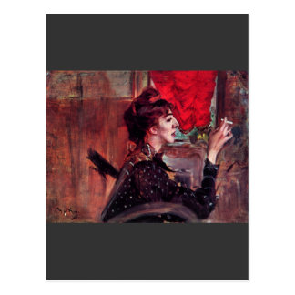 Cartão Postal Giovanni Boldini - a cortina vermelha