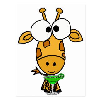 Cartão Postal Girafa dirigido grande engraçado que bebe a arte