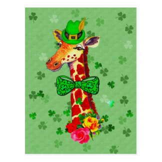 Cartão Postal Girafa do dia de St Patrick