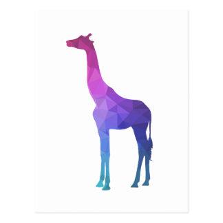 Cartão Postal Girafa geométrico com ideia vibrante do presente