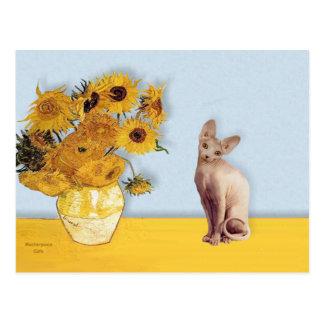 Cartão Postal Girassóis - gato de creme de Sphyx