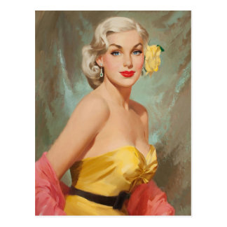 Cartão Postal Glamour PinUp Loura Girl