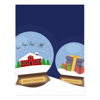 Cartão Postal Globos da neve do Natal e presente de Papai Noel