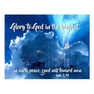 Cartão Postal Glória ao deus, natividade do 2:14 de Luke do