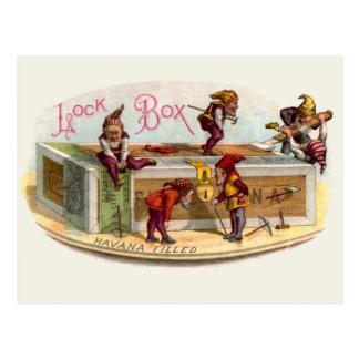 Cartão Postal Gnomos da caixa de charuto do vintage