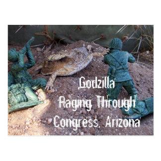 Cartão Postal Godzilla que Raging através do congresso
