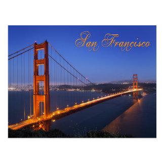 Cartão Postal Golden gate bridge no crepúsculo