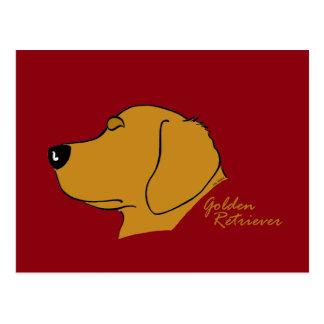 Cartão Postal Golden Retriever cabeça silhueta