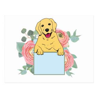 Cartão Postal Golden retriever que guardara o sinal