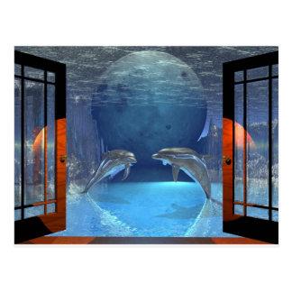Cartão Postal golfinho da arte 3d junto