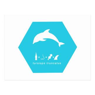 Cartão Postal golfinho de bottlenose hex.png azul