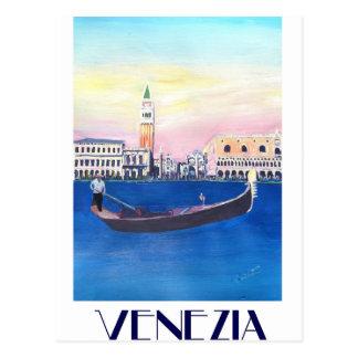 Cartão Postal Gôndola de Veneza Italia no canal grande com San