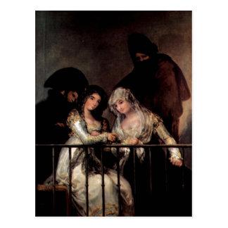 Cartão Postal Goya y Lucientes, Francisco de Majas em um balcão