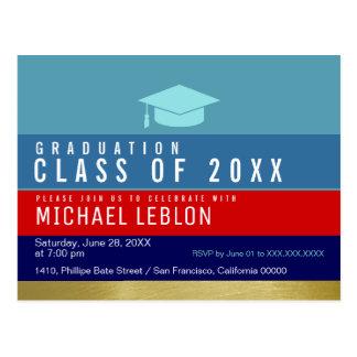 Cartão Postal graduação moderna, listrada & legal. partido do