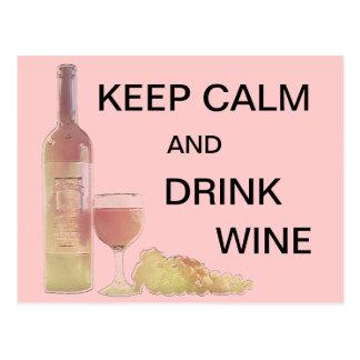 Cartão Postal Gráfico calmo do vinho da bebida