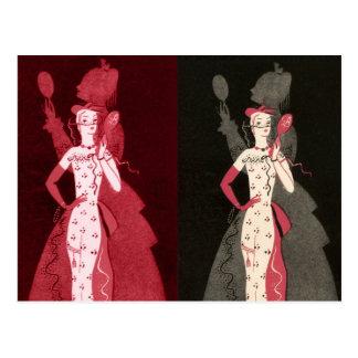 Cartão Postal Gráfico do vestido do rosa do preto do Fashionista
