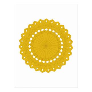 Cartão Postal Gráfico redondo amarelo da mostarda