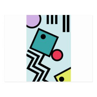 Cartão Postal Gráficos abstratos do estilo do pop art de 80s