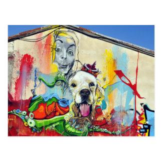 Cartão Postal Grafites da pintura mural do cão