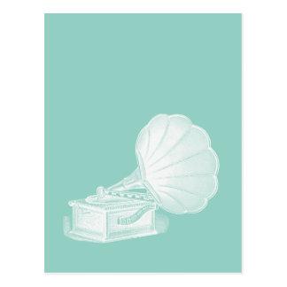 Cartão Postal Gramofone branco do verde de mar do fonógrafo do