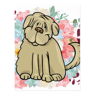 Cartão Postal Grande cão macio com flores