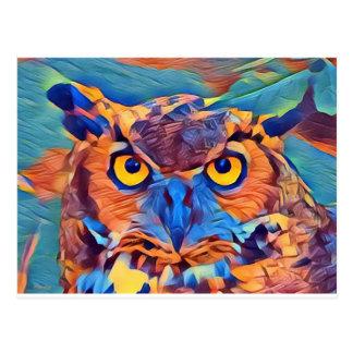 Cartão Postal Grande coruja Horned abstrata