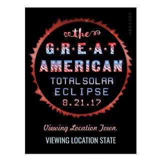 Cartão Postal Grande eclipse solar 21 de agosto de 2017 total
