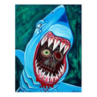 Cartão Postal Grande Gobstopper branco - tubarão CONTRA o zombi