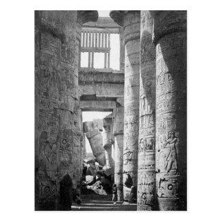 Cartão Postal Grande ~ hipostilo 1845 de Salão Karnak Egipto