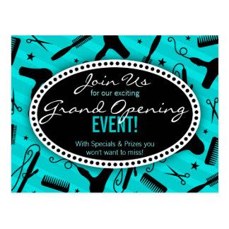 Cartão Postal Grande inauguração azul do cabeleireiro da cerceta