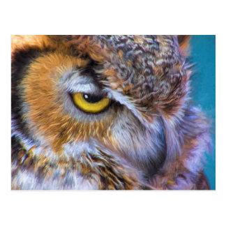 Cartão Postal Grande olho bonito do ouro do pássaro da coruja