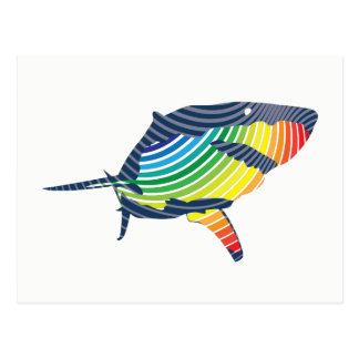 Cartão Postal Grande Swoosh do tubarão branco