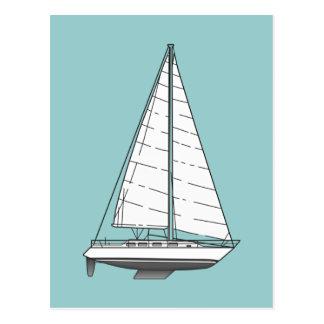 Cartão Postal Grande Veleiro-Preto & branco