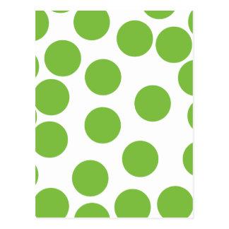 Cartão Postal Grandes pontos do verde de ervilha no branco