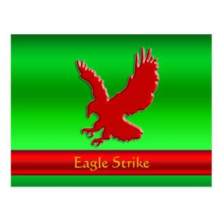 Cartão Postal Gravar-olhar Eagle vermelho no metálico-efeito