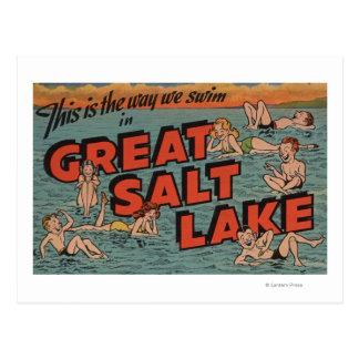 Cartão Postal Great Salt Lake, maneira de UtahThe nós SwimUtah