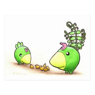 Cartão Postal Green Peafowl Family postcard